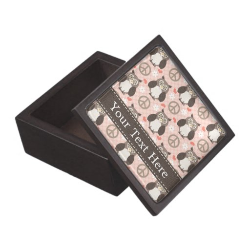 Caja de regalo de los búhos del amor de la paz cajas de joyas de calidad