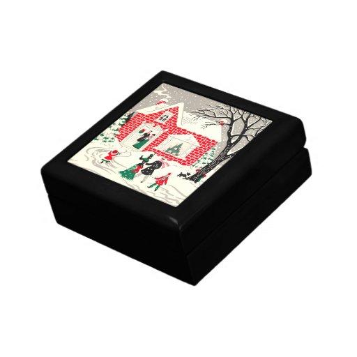 Caja de regalo de los saludos del campo del joyero cuadrado pequeño