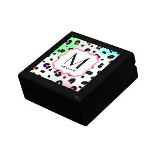 Caja de regalo de neón del monograma del estampado