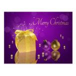 Caja de regalo de oro del navidad - postal