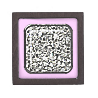 Caja de regalo de plata del brillo (frontera rosad caja de joyas de calidad