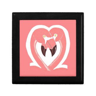 Caja de regalo del amor de los flamencos joyero cuadrado pequeño