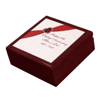 Caja de regalo del aniversario de boda del damasco