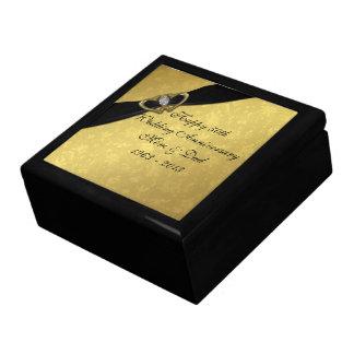 Caja de regalo del aniversario de boda del damasco joyero cuadrado grande
