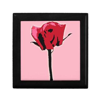 Caja de regalo del arte de Digitaces del rosa rojo Joyero Cuadrado Pequeño