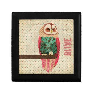 Caja de regalo del búho del vintage de Rosa Joyero Cuadrado Pequeño