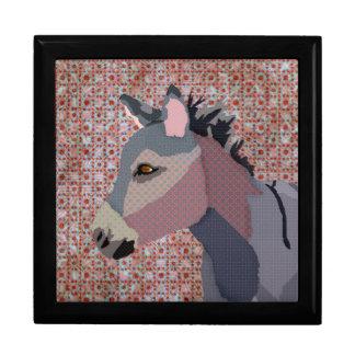 Caja de regalo del burro del gris joyero cuadrado grande