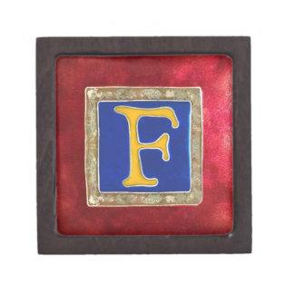 caja de regalo del cloisonne del monograma F Caja De Recuerdo De Calidad