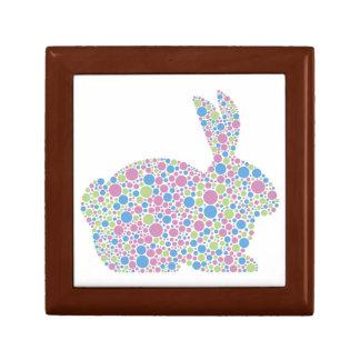 Caja de regalo del conejo de conejito de los lunar joyero cuadrado pequeño