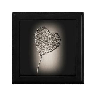 Caja de regalo del corazón quebrado joyero cuadrado pequeño