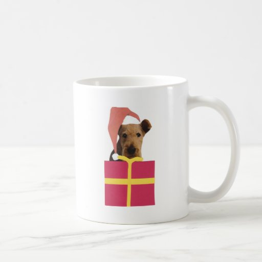 Caja de regalo del gorra de Airedale Terrier Santa Taza Básica Blanca