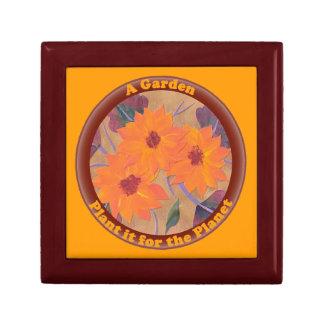 caja de regalo del jardín joyero cuadrado pequeño