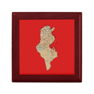 Caja de regalo del mapa de Túnez Joyero Cuadrado Pequeño