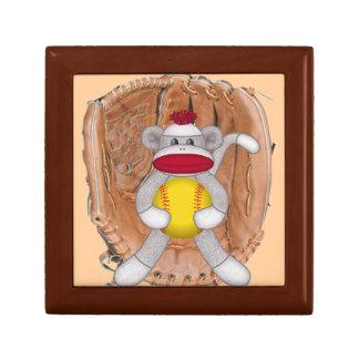 Caja de regalo del mono del calcetín del softball joyero cuadrado pequeño