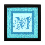 Caja de regalo del monograma M en verdes y azules