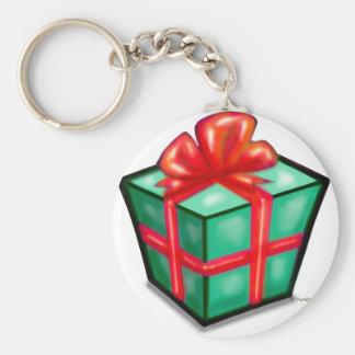 Caja de regalo del navidad llavero redondo tipo pin