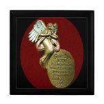 Caja de regalo del recuerdo del ángel de guarda joyero cuadrado grande