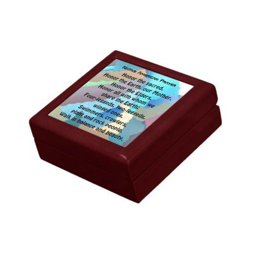 caja de regalo del rezo del nativo americano joyero cuadrado pequeño