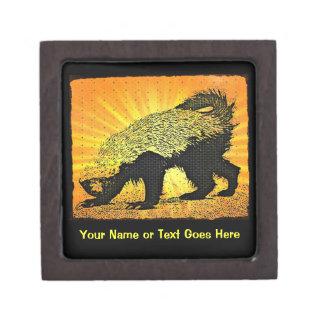 ¡Caja de regalo del tejón de miel - añada su nombr Caja De Joyas De Calidad