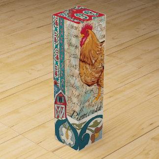 Caja de regalo del vino del gallo caja para botella de vino
