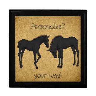 Caja de regalo embutida caballos occidentales de joyero cuadrado grande