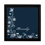 Caja de regalo floral azul del remolino