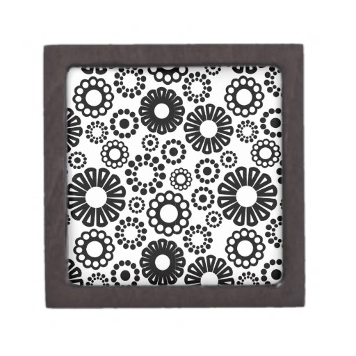 Caja de regalo floral blanco y negro cajas de joyas de calidad