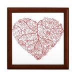 Caja de regalo grande del corazón de la voluta