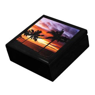 Caja de regalo hawaiana de la escena de la puesta