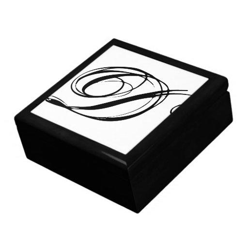 Caja de regalo inicial del monograma D Joyero Cuadrado Grande