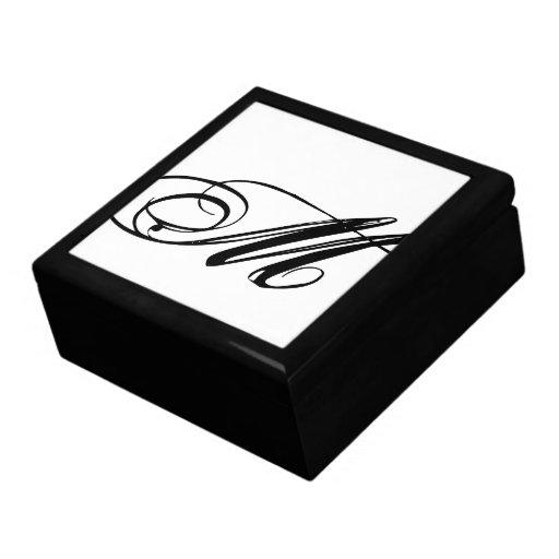 Caja de regalo inicial del monograma M Joyero Cuadrado Grande