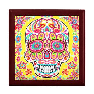 Caja de regalo linda del cráneo del azúcar - día d joyero cuadrado grande