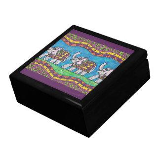 Caja de regalo maravillosa del desfile del elefant joyero cuadrado grande