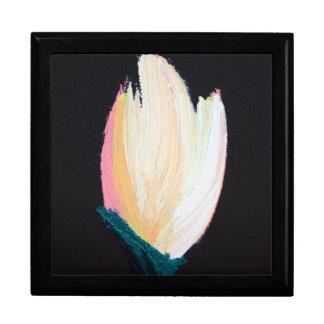 Caja de regalo pintada a mano original del tulipán joyero cuadrado grande