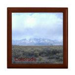 Caja de regalo/plantilla de caoba de Colorado Joyero Cuadrado Grande