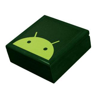 Caja de regalo principal androide verde joyero cuadrado grande