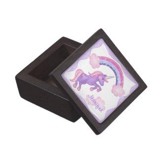 Caja de regalo púrpura de la teja del unicornio cajas de joyas de calidad
