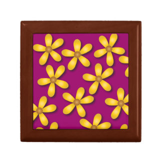 Caja de regalo púrpura de las flores felices joyero cuadrado pequeño