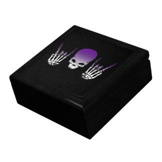 Caja de regalo púrpura del cráneo del metal joyero cuadrado grande