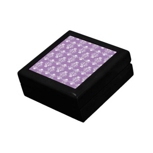 Caja de regalo púrpura del damasco