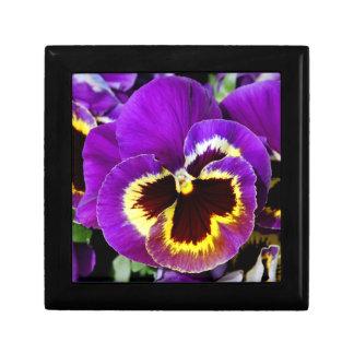 Caja de regalo púrpura hermosa del estampado de fl joyero cuadrado pequeño