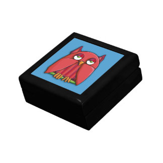 Caja de regalo roja de la aguamarina del búho