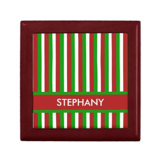 Caja de regalo roja de las rayas del navidad