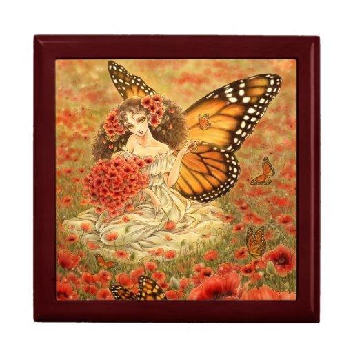 Caja de regalo roja del arte de la fantasía de la
