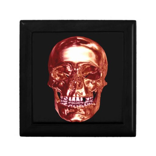 Caja de regalo roja del cráneo del cromo joyero cuadrado pequeño