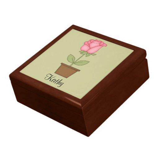 Caja de regalo roja del tulipán joyero cuadrado grande