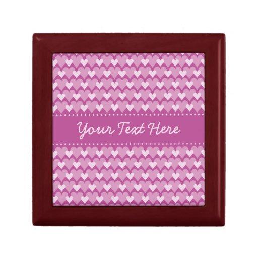 Caja de regalo rosada de los corazones, personaliz joyero cuadrado pequeño