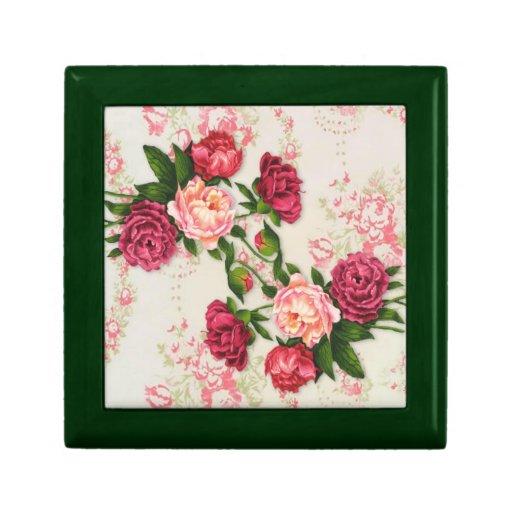 Caja de regalo rosada de los rosas joyero cuadrado pequeño