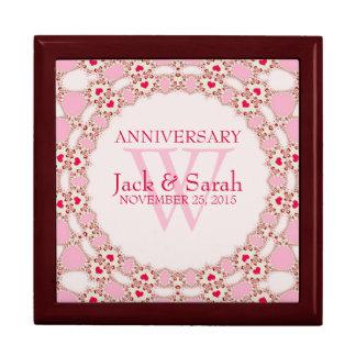 Caja de regalo rosada del aniversario de boda del