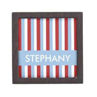 Caja de regalo superior azul de las rayas del navi caja de regalo de calidad